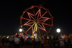 Cattle Baron's Ball Wheel at Night